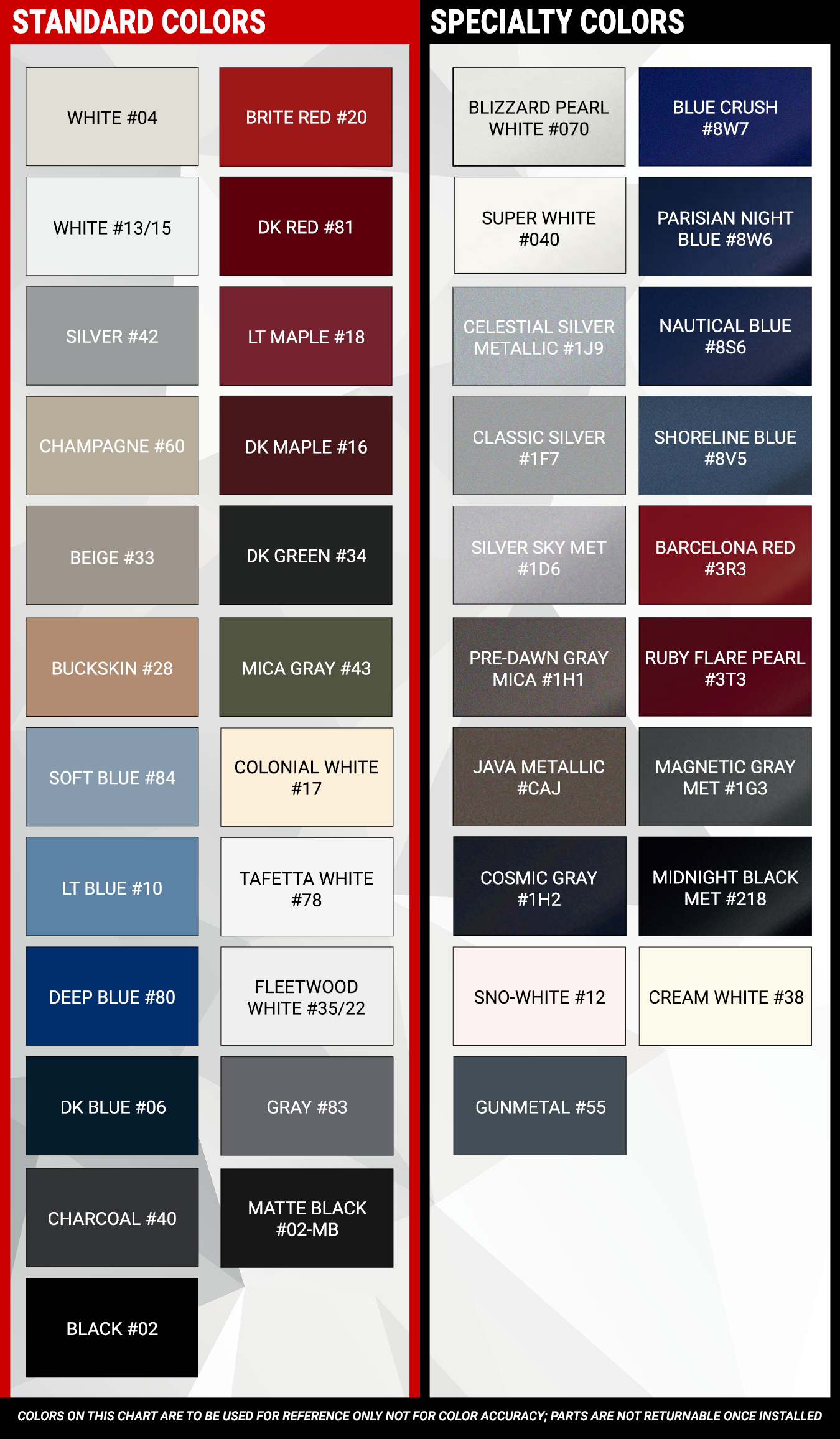 Extruded Molding Color Chart