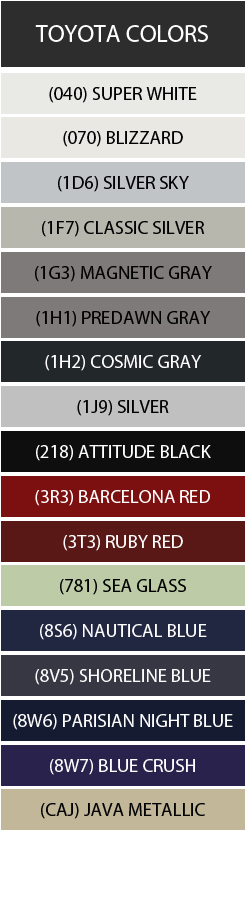 Toyota Color Swatches